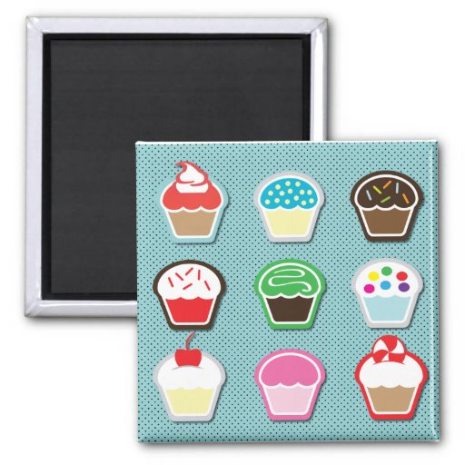 Mmm, Cupcakes! Square Magnet