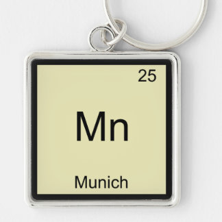 Mn - Munich Funny Chemistry Element Symbol T-Shirt Silver-Colored Square Key Ring