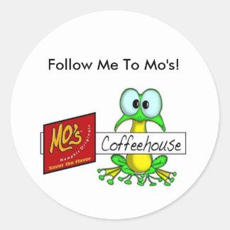 Mo's Coffee house Logo, Follow Me To Mo's! Sticker