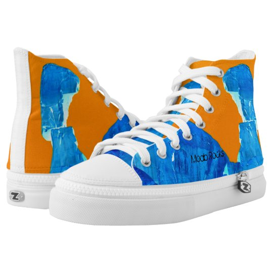 Moab Rocks Pop Art High Tops Unisex Blue Orange Printed Shoes