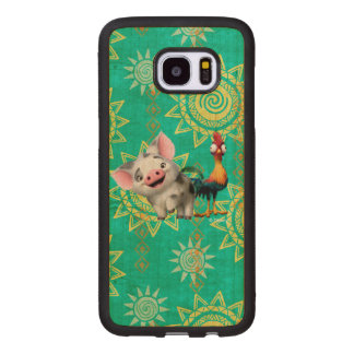 Moana   First Mate & Top Rooster Wood Samsung Galaxy S7 Edge Case