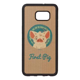 Moana   Pua The Pig Wood Samsung Galaxy S6 Edge Case