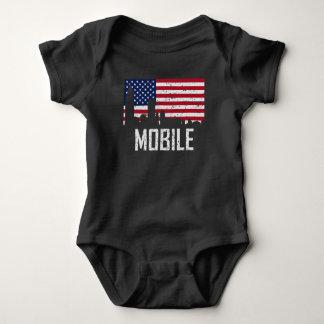 Mobile Alabama Skyline American Flag Distressed Baby Bodysuit