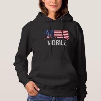 Mobile Alabama Skyline American Flag Hoodie
