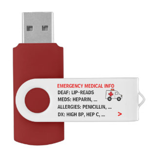 Mobile Emergency Medical Info (Personalised) USB Flash Drive