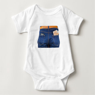 Mobile phone and euro money in blue jeans baby bodysuit