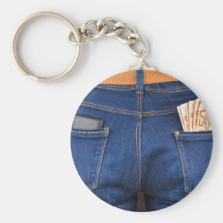 Mobile phone and euro money in blue jeans basic round button key ring