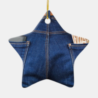 Mobile phone and euro money in blue jeans ceramic ornament
