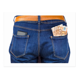 Mobile phone and euro money in blue jeans postcard