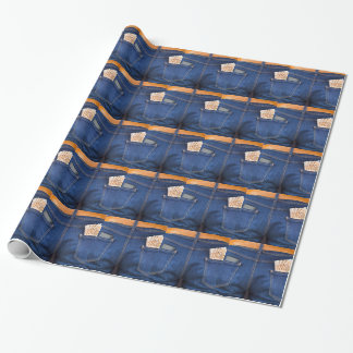 Mobile phone and euro money in blue jeans wrapping paper