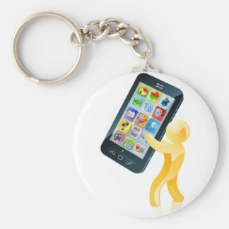 Mobile phone gold man keychain