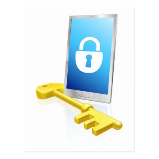 Mobile phone lock and key post cards