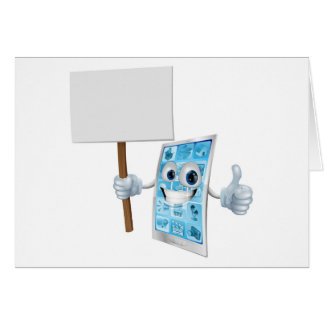 Mobile phone mascot holding sign card