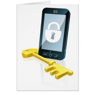 Mobile phone security concept greeting card