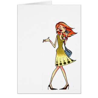 mobile phone women notecard note card