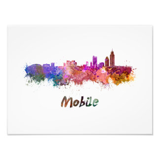 Mobile skyline in watercolor photo print
