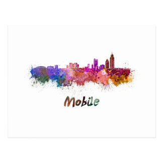 Mobile skyline in watercolor postcard