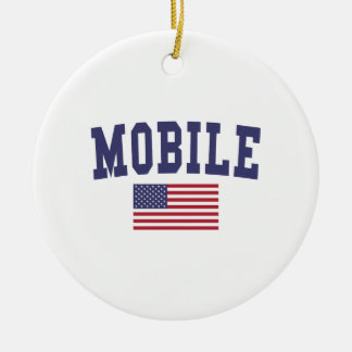 Mobile US Flag Ceramic Ornament