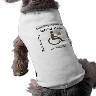 Mobility Assistance - Service Animal Sepia Sleeveless Dog Shirt