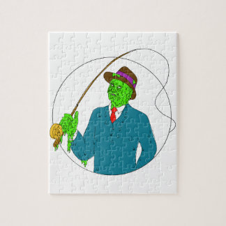 Mobster Fisherman Fly Rod Reel Grime Art Jigsaw Puzzle