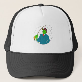 Mobster Fisherman Fly Rod Reel Grime Art Trucker Hat
