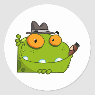 Mobster Frog Cartoon Character Round Sticker