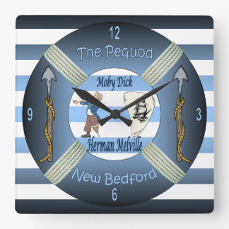Moby-Dick ~ The Pequod ~Herman Melville ~Capt Ahab Square Wall Clock