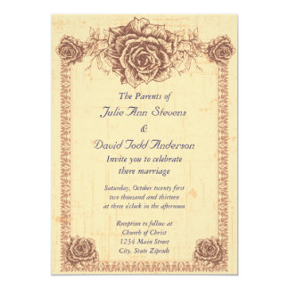 Moccasin  Vintage Rose Border Wedding Card