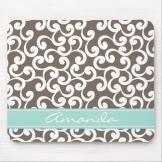 Mocha and Mint Monogrammed Elements Print Mouse Pad