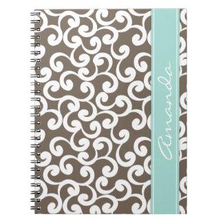 Mocha and Mint Monogrammed Elements Print Notebooks