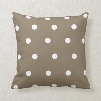 Mocha and White Polka Dot Throw Pillow