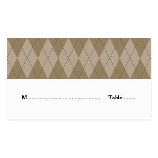 Mocha Argyle Wedding Place Card Pack Of Standard Business Cards