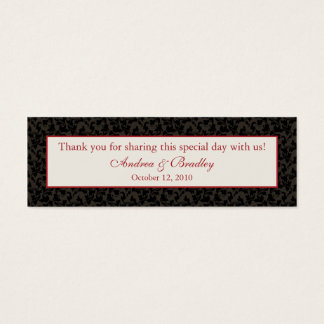 Mocha Brown & Claret Red Damask Wedding Favor Tag Mini Business Card