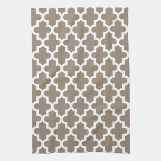 Mocha Brown Modern Moroccan Pattern Tea Towel