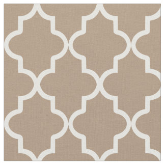 Mocha Brown Moroccan Quatrefoil Fabric