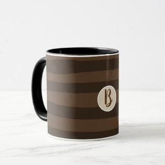 Mocha Brown Whimsical Funky Stripes Modern Chic Mug