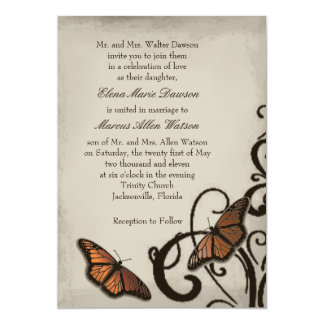 Mocha Butterfly Swirl Wedding Invitation