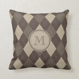 Mocha Chocca Brown Argyle Pattern with Monogram Throw Pillow