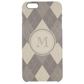 Mocha Chocca Brown Argyle Plaid with Monogram Clear iPhone 6 Plus Case