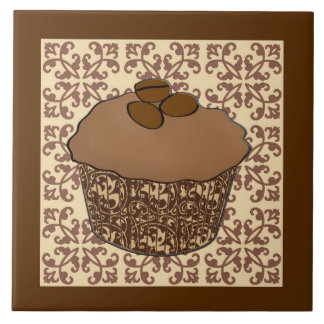 Mocha / Coffee Frosted Cupcake, Lace Background Large Square Tile