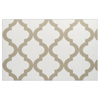 Mocha Float and White Moroccan Quatrefoil Print Fabric