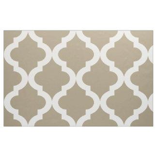 Mocha Float Moroccan Quatrefoil Print Fabric