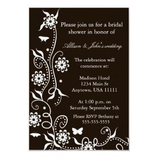 "Mocha Floral Swirl Bridal Shower Invitation 3.5"" X 5"" Invitation Card"