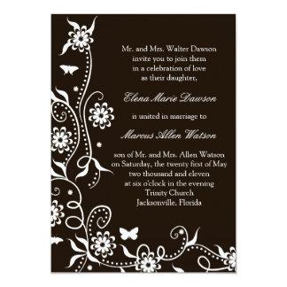 Mocha Floral Swirl Wedding Invitation