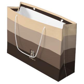 Mocha Latte Color Palette Stripes Monogram Large Gift Bag