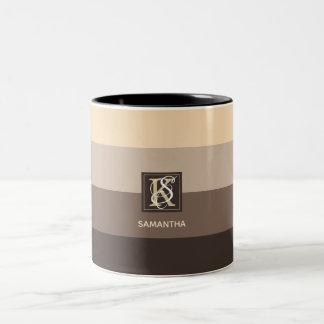 Mocha Latte Color Palette Stripes Monogram Two-Tone Coffee Mug