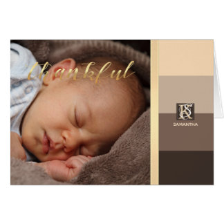 Mocha Latte Color Palette Stripes Photo Monogram Card