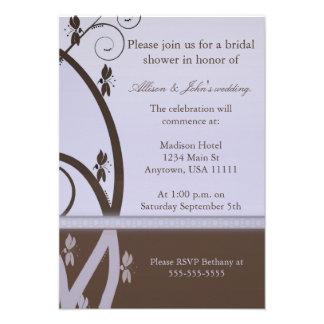 Mocha Lilac Floral Vine Bridal Shower Invitation