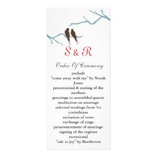 mocha lovebirds Wedding program Rack Card