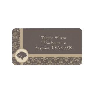 Mocha Oak Damask Address Label